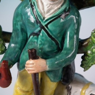 Pair Pearlware Staffordshire 'Sports Man' & 'Archer' Figures