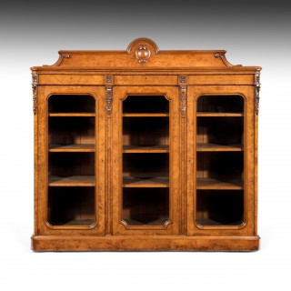 Large 19th Century Victorian Pollard Oak Three Door Bookcase