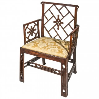 George III Chinese Chippendale Open Armchair