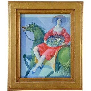 Painting woman on horseback with basket of fish.