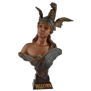 Walkyrie Art Nouveau bronze bust of a woman with helmet
