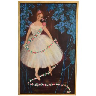 Mid Century painting of the ballerina étoile Claude Bessy