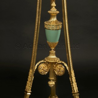 A Pair of Louis XVI Style Enamelled Ten Light Torchere Candelabra