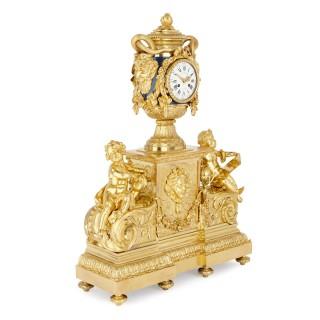 Monumental Napoleon III period gilt bronze clock after Le Roy