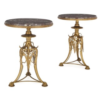 Two 19th Century gilt bronze and marble round tables by Barbedienne