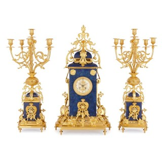 French gilt bronze mounted lapis lazuli mantel clock set