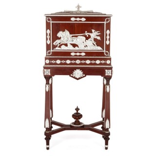 Antique Napoleon III period oak and silvered bronze tobacco cabinet by Diehl