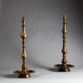 MATCHED PAIR OF TURNED BRASS INDIAN TABLE LAMPS