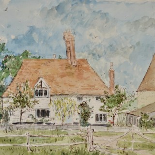 John Sergeant - Wanden Farm and Oast, Egerton, Kent - watercolour