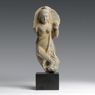 Gandhara Buddhist Schist Figure of a Yakshi