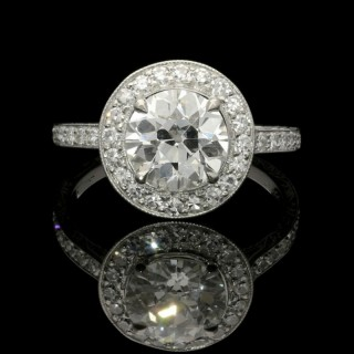Hancocks 1.70ct Old European Brilliant Cut Diamond Ring with Halo surround in Platinum