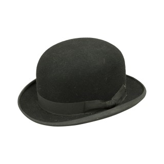 Vintage, English Black Bowler Riding Hat, Equestrian.