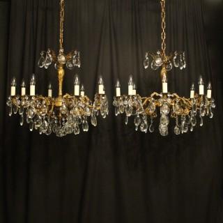 Italian Pair Gilded 8 Light Antique Chandeliers