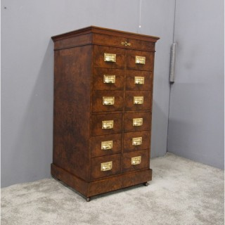 Victorian Burr Walnut Filing Cabinet or Office Chest