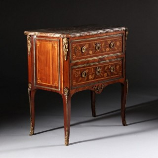 TRANSITIONAL LOUIS XVI FRENCH MASTER CABINET MAKER MARQUETRY COMMODE JME