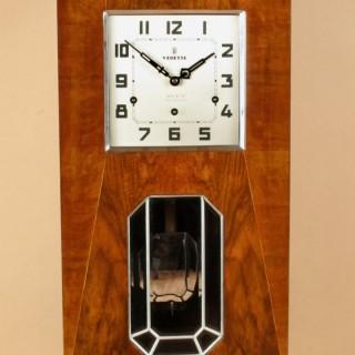 Very Decorative Art Deco Walnut Westminster Verdette Wall Clock Circa: 1930