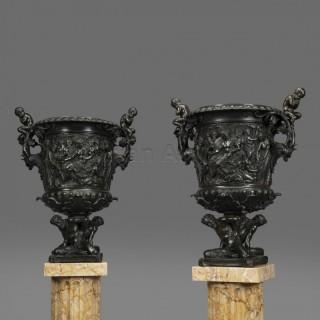 A Large Pair of Renaissance Revival Patinated Bronze Vases