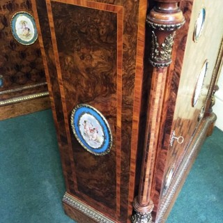 Pair of 19th Century Kingwood Pier Cabinets with Sèvres style Plaques