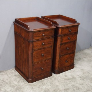 Pair of Victorian Mahogany Bedsides with Gallery
