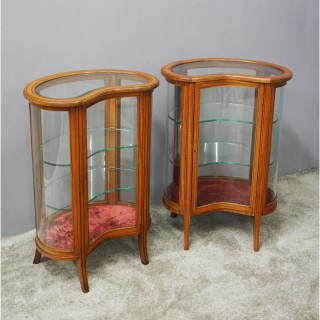 Pair of Sheraton Style Kidney Display Cabinets