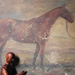 An Early 20thC English School Oil on Canvas Study of Race Horse