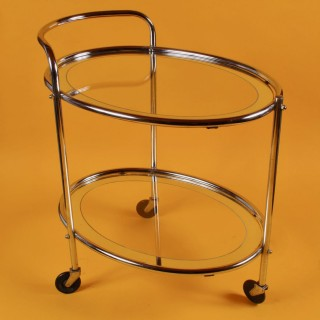 Original 1930s Art Deco Chrome and Mirror Modernist Cocktail Drinks Trolley
