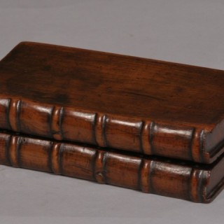 Antique Treen 19th Century Yew Wood Book Cribbage Board
