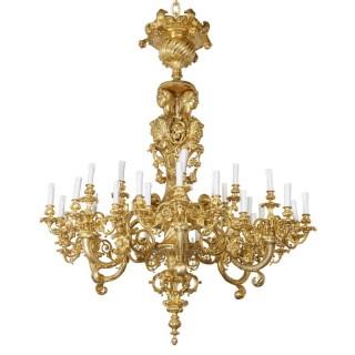 Large Baroque style gilt bronze eighteen-light chandelier