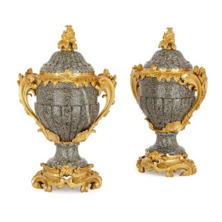 Two Louis XV style grey marble and gilt bronze vases