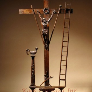 A Very Fine Carved Christ Figure On The Cross, With Several Symbolic Attributes. French