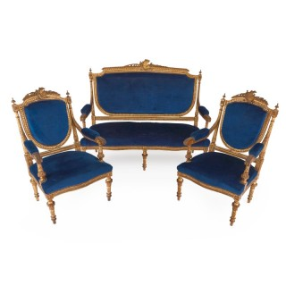 Antique Neoclassical style giltwood three-piece furniture suite