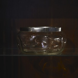 Silver Collared Dimpled Glass Bowl