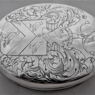 Super quality armorial William & Mary silver tobacco box London 1694 Samuel Hunt (ex Poor collection)