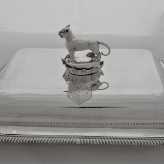 Fine armorial George III silver entree dish London 1801 Paul Storr