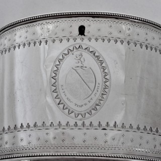 Large armorial George III silver tea caddy London 1785 Thomas Chawner