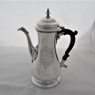 Nice quality armorial George II silver coffee pot London 1753 Thomas Whipham