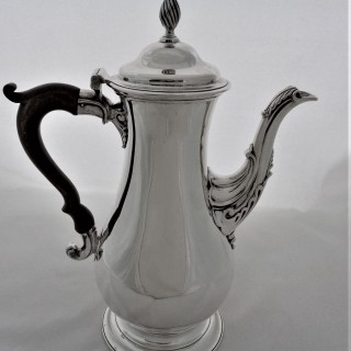 Good  quality armorial George III silver coffee pot London 1773 Charles Wright