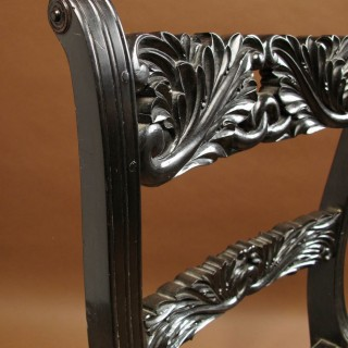 Anglo Indian Solid Ebony Finely Carved Chair, Ceylon ( Sri Lanka) Circa 1830