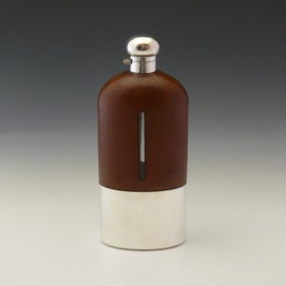 Very Large Leather and Silver Plate Hip Flask