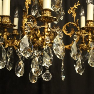 Italian Gilded Bronze 9 Light Antique Chandelier