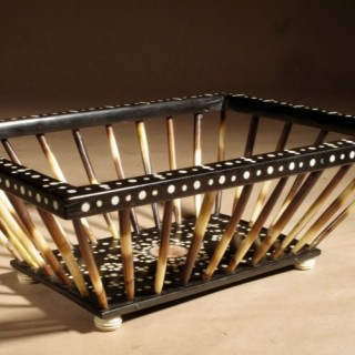 Anglo Indian Porcupine Quill Work/Knitting Ebony Inlaid Basket