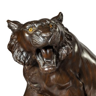 A large Meiji period bronze tiger by Genryusai Seiya