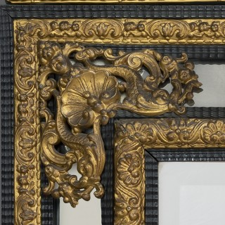 An Impressive Louis XIV Style Ebonised and Gilt-Bronze Mounted Mirror