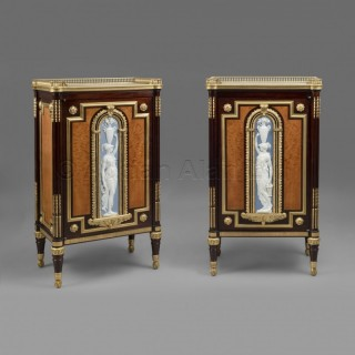 An Important Pair of Neoclassical Style Porcelain Mounted Side Cabinets