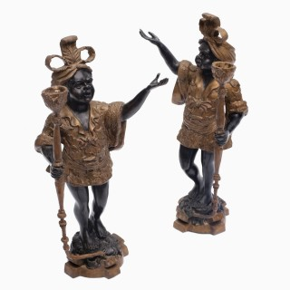 A Pair of Early 20th Century Blackamoor Candle Holders