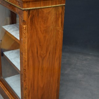 Victorian Walnut Bookcase / Display Cabinet