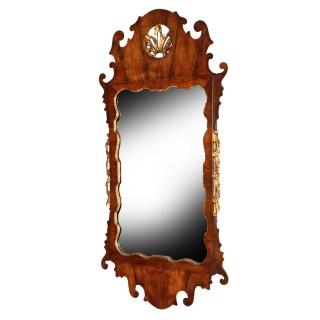 George II Style Walnut & Gilt Wall Mirror