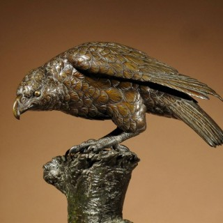 A very decorative bronze model of a hawk