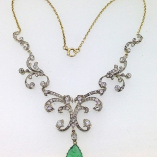 Belle Epoque Emerald and Diamond Necklet.
