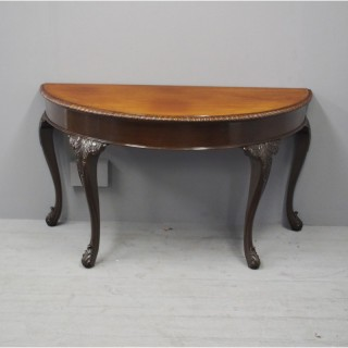 Georgian Style Carved Mahogany Demi Lune Table